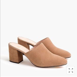 J.Crew High block -heel mules in suede.